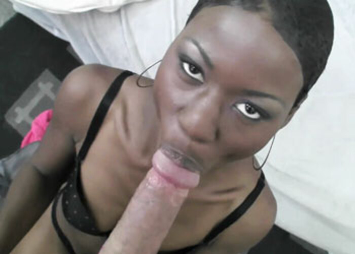 Ebony coed Lux gets splattered with cum